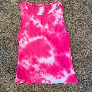 Pink and white the dye tank top